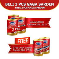Gaga Sarden Tomat dan Cabe 155gr. Beli 3pcs FREE 2pcs