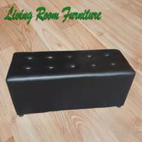 Sofa Puff Stool Kursi Tunggu Panjang Model Kancing Busa Empuk Ringan - Hitam