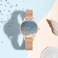 REBIRTH jam tangan wanita Langit berbintang Mode Tahan Air Jam Tangan