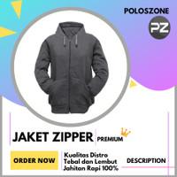 Jaket Sweater Hoodie Zipper Polos PREMIUM Abu Tua Pria Wanita