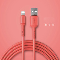 Kabel Data USB Fast Charging 3A Lightning Iphone Colourful - Merah