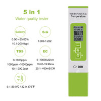 TDS EC Salinity S.G Temp Tester 5in1 C-100 Meter C100 Water Quality