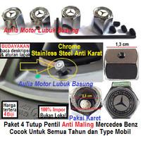 paket 4 tutup pentil mercedes benz chrome anti maling + baut & kunci L