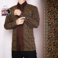 Kemeja Pria Batik Size M L XL XXL Lengan Panjang Katun Coklat Radhika