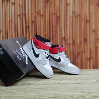 sepatu anak laki laki Nike Air Jordan Hi Red Grey Grade Original