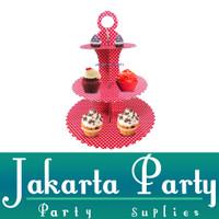 Stand Cake Merah Polkadot / Standing Cup Cake 3 Tier / Cake Standing