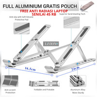 Laptop Stand Holder Portable Aluminium LiVION+ / Dudukan Laptop Tablet