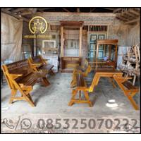 Kursi Meja Lipat Bangku Kayu Jati Untuk Taman / Cafe Indoor Outdoor
