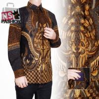 Kemeja Batik Pria Size M L XL XXL Lengan Panjang Katun Hitam Raazi