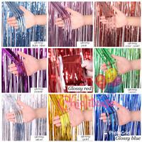 Tirai rumbai foil backdrop pesta party/curtain dekorasi 200x100 cm