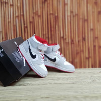 Sepatu Anak Nike Air Jordan Hi Grey Red Kids Grade Original