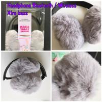 Headphone Earphones Bando Bluetooth Wireless Lovable Headphone Bulu
