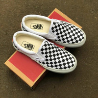 Sepatu Slip On Pria Wanita Vans Checker board OG Premium Import