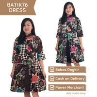Dress Wanita / Batik 76 Dress / Baju Outfit Kerja Fashion Murah