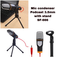 microphone condenser laptop pc podcast 3.5mm with stand sf-666
