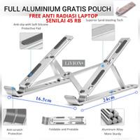Laptop Stand Portable Aluminium LiVION+ / Dudukan Laptop / Meja Laptop