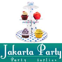 Stand Cake Putih Polkadot / Standing Cup Cake 3 Tier / Cake Standing