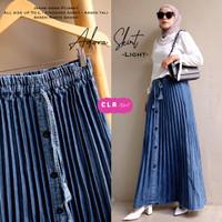 skirt rok plisket jeans wanita terbaru Adora skirt adem melar tebal