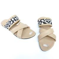 Kukira Sandal Slop Silang Batik - KLE01 - cream, 37