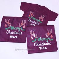 GRATIS CUSTOM NAMA Kaos / Baju NATAL MERRY CHRISTMAS terbaru, murah.