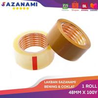 SAZANAMI LAKBAN COKLAT 48MM X 100Y SELOTIP LAKBAN PACKING 1ROLL - Cokelat