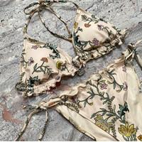H&M Paisley Scrunch Triangle Tied Bikini Set Baju Renang Swimsuit -ORI