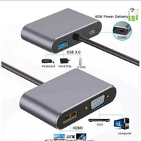 Type-C To Hub PD HDMI + VGA USB3.0 Audio Video Adapter 4in1