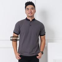 Polo Shirt Kaos Polo Pria Kerah Shanghai Polos Abu Tua JUMBO BIG SIZE - M