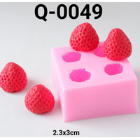 Q-0049 Cetakan silikon puding coklat fondant buah strawberry stroberi