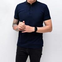 Kaos Polo Pria Polo Shirt Kerah Shanghai Polos Biru Blue Navy Cowok