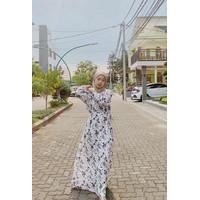 Pakaian Muslim - Gamis Muslim - Home Dress Warna Putih Bermotif