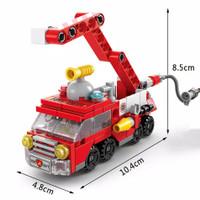Mainan Edukasi Anak Laki Laki Lego Block 6 in 1 Kendaraan Militer Army - Merah