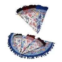 Taplak meja tamu bulat batik cap ukuran diameter 95cm - Biru