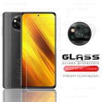 Tempered Glass Poco X3 NFC Clear Paket Anti Gores Layar dan Kamera