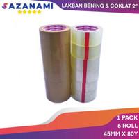 SAZANAMI LAKBAN COKLAT 45MM X 80Y SELOTIP LAKBAN PACKING 6ROLL - Cokelat