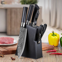 6in1 Set Pisau Dapur Chef Damaskus Pattern Pisau Cincang Daging Sushi