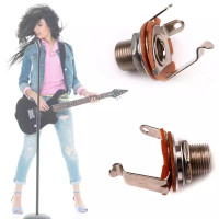 Jack Female Guitar Mono Korea Chrome Round Jack Gitar Socket