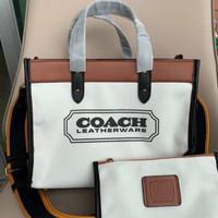 Coach Field 30 With Coach Badge Tote Bag - ORIGINAL GUARANTEE 100%