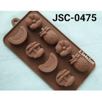 JSC-0475 Cetakan silikon pudding coklat fondant buah semangka bunga
