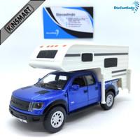 Kinsmart Ford F-150 SVT Raptor SuperCrew Truck Camper - Biru
