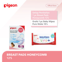 PIGEON Breast Pad 12'S Free Wipes Pure Water 10'S