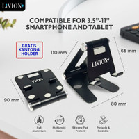 LiVION+ Dudukan HP Aluminium Stand Holder Lipat HandPhone iPad Tablet