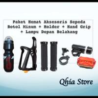 Paket Hemat Aksesoris Sepeda Botol Minum + Holder + Hand Grip + Lampu