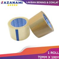 "SAZANAMI LAKBAN COKLAT 3"" 72MM X 100Y SELOTIP PACKING 1ROLL - Cokelat"