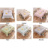Taplak Kotak / Taplak Meja Anti Air Motif Kotak-Kotak Bahan PEVA