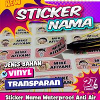 Sticker Nama Custom Untuk Buku Alat Tulis tempat pensil Waterproof