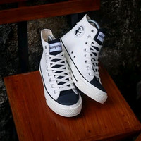 SEPATU WARRIOR POSEIDON WHITE BLACK HIGH - Putih, 37