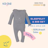 Baby Sleepsuit Bib Set (Baju Tidur Piyama Bayi) - Kalale - Grey - 0-3 Bulan