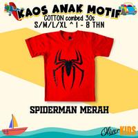 Baju Kaos anak superhero marvel cotton combed 30s distro original - SPDERMAN MERAH, S 1-2 THN