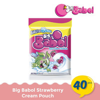 Permen Karet Big Babol Pouch Rasa Krim Strawberry Cream